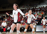 STANFORD, CA - September 2, 2010: Cassidy Lichtman (8) and Carly Wopat (2) during a volleyball match against UC Irvine in Stanford, California. Stanford won 3-0.