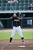 Louis Silverio (25) of the Kannapolis Intimidators at bat against the Lakewood BlueClaws at Intimidators Stadium on July 16, 2015 in Kannapolis, North Carolina.  The BlueClaws defeated the Intimidators 3-1.  (Brian Westerholt/Four Seam Images)