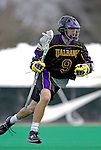 14 April 2007: University of Albany Great Danes' Merrick Thomson, a Senior from Stoney Creek, Ontario, in action against the University of Vermont Catamounts at Moulton Winder Field, in Burlington, Vermont. The Great Danes defeated the Catamounts 14-7...Mandatory Photo Credit: Ed Wolfstein Photo
