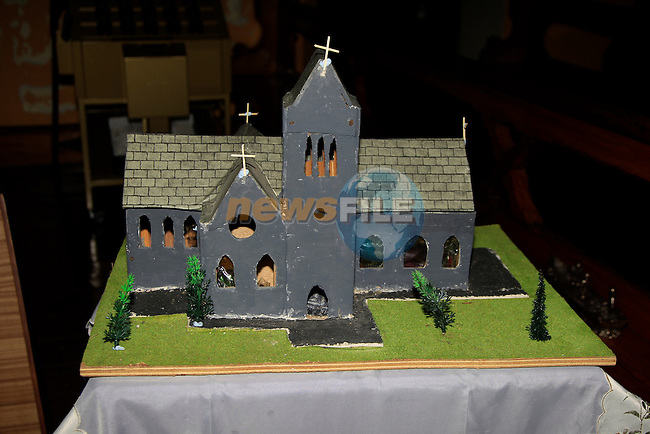The model of the church during the Vigil Mass to thank people for taking part in Save the Dominican Church at Saint Magdalene's Church, Dominick St, Drogheda, Co. Louth on Sunday 7th December 2014.<br /> Picture:  Thos Caffrey / www.newsfile.ie