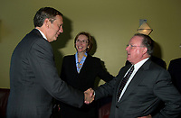 Montreal, April 18, 2001<br /> New York State Governor George Pataki (left) meet with Quebec Premier ;  Bernard Landry on April 18, 2001 at Dorval International Airport near Montreal, CANADA<br /> <br /> Photo by Pierre Roussel