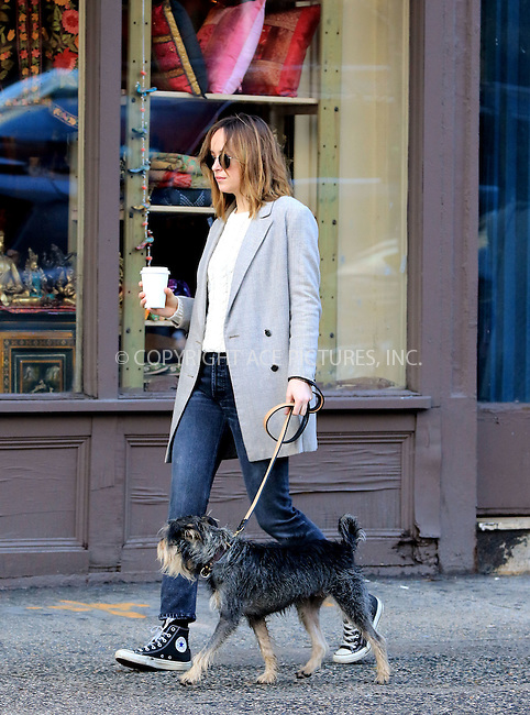 WWW.ACEPIXS.COM<br /> <br /> January 10 2016, New York City<br /> <br /> Actress Dakota Johnson walsk her dog Zeppelin in the West Village on January 10 2016 in New York City<br /> <br /> By Line: Zelig Shaul/ACE Pictures<br /> <br /> <br /> ACE Pictures, Inc.<br /> tel: 646 769 0430<br /> Email: info@acepixs.com<br /> www.acepixs.com