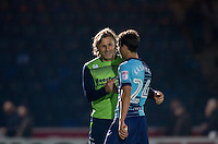 Wycombe Wanderers Manager Gareth Ainsworth congratulates goalscorer Scott Kashket of Wycombe Wanderers during the The Checkatrade Trophy match between Wycombe Wanderers and West Ham United U21 at Adams Park, High Wycombe, England on 4 October 2016. Photo by Andy Rowland.