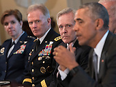 United States Navy Secretary Ray Mabus listens as US President Barack Obama speaks to the media as he meets with the Joint Chiefs of Staff and Combatant Commanders in the Cabinet Room at the White House in Washington, D.C. on January 4, 2017.<br /> Credit: Kevin Dietsch / Pool via CNP