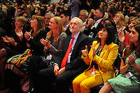 Liverpool, England. 24th September, 2016. <br /> Jeremy Corbyn (3L) and his partner Laura Alvarez (2L), prior to the announcement of the new leader of the Labour Party at the ACC Conference Centre. The leadership race involved nine weeks of campaigning between Labour leader Jeremy Corbyn and Owen Smith. This is his second leadership election in just over twelve months and was initiated by the decision of Angela Eagle to stand against him. Kevin Hayes/Alamy Live News