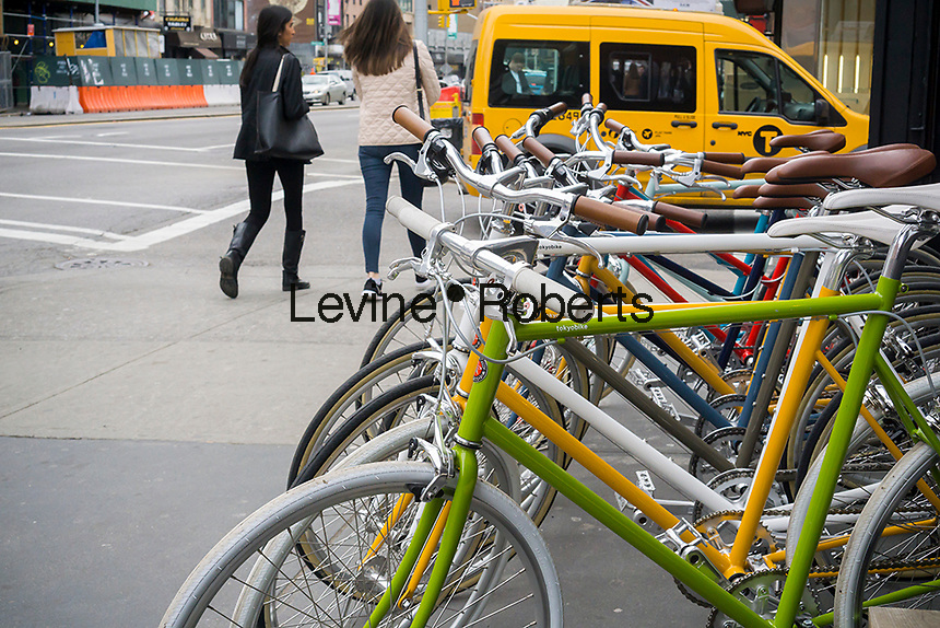 Tokyo Bike brand bicycles outside of their store on the Bowery in New York on Saturday, February 20, 2016. (© Richard B. Levine)