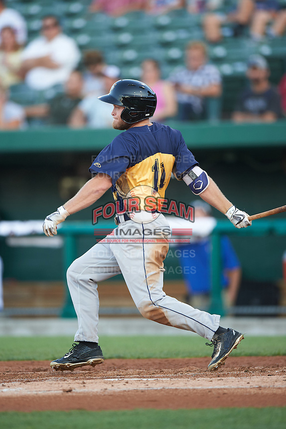 Burlington Bees center fielder Brennon Lund (11) at bat during a game against the South Bend Cubs on July 22, 2016 at Four Winds Field in South Bend, Indiana.  South Bend defeated Burlington 4-3.  (Mike Janes/Four Seam Images)