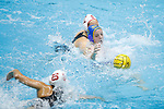 INDIANAPOLIS, IN - MAY 14: Alexis Angermund (15) of UCLA reaches for the ball against Stanford University during the Division I Women's Water Polo Championship held at the IU Natatorium-IUPUI Campus on May 14, 2017 in Indianapolis, Indiana. Stanford edges UCLA, 8-7, to win fifth women's water polo title in the past seven years. (Photo by Joe Robbins/NCAA Photos/NCAA Photos via Getty Images)