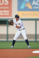 Lakeland Flying Tigers second baseman Anthony Pereira (9) throws to first base during a game against the Tampa Tarpons on April 5, 2018 at Publix Field at Joker Marchant Stadium in Lakeland, Florida.  Tampa defeated Lakeland 4-2.  (Mike Janes/Four Seam Images)