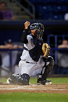 Staten Island Yankees catcher Carlos Gallardo (65) during a NY-Penn League game against the Aberdeen Ironbirds on August 22, 2019 at Richmond County Bank Ballpark in Staten Island, New York.  Aberdeen defeated Staten Island 4-1 in a rain shortened game.  (Mike Janes/Four Seam Images)