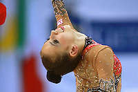 Daria Dmitrieva of Russia (junior) performs with ribbon during event finals at 2008 European Championships at Torino, Italy on June 7, 2008.  Photo by Tom Theobald..Photo note: Went close with cropping same image, pushing pixels more..