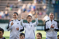 Seattle, Washington - Saturday, July 2nd, 2016:Seattle Reign FC forward Nahomi Kawasumi (36) waves at her fans priro to a regular season National Women's Soccer League (NWSL) match between the Seattle Reign FC and the Boston Breakers at Memorial Stadium. Seattle won 2-0.