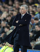 11th January 2020; Goodison Park, Liverpool, Merseyside, England; English Premier League Football, Everton versus Brighton and Hove Albion; Everton Manager Carlo Ancelotti looks on from the touchline - Strictly Editorial Use Only. No use with unauthorized audio, video, data, fixture lists, club/league logos or 'live' services. Online in-match use limited to 120 images, no video emulation. No use in betting, games or single club/league/player publications