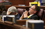Nevada Assemblymen Erven Nelson, R-Las Vegas, left, and Mike Sprinkle, D-Sparks watch as the final chaotic minutes of the session tick down at the Legislative Building in Carson City, Nev., on Monday, June 1, 2015. <br /> Photo by Cathleen Allison