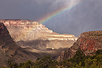 A rainbow seen from the Grandview Trail, below the South Rim of the Grand Canyon.