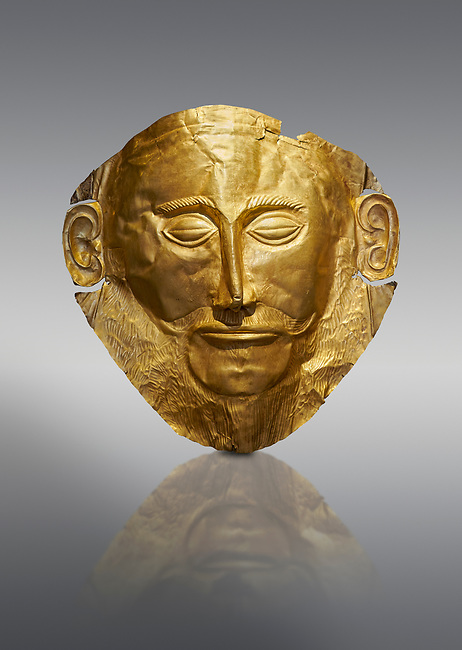 Mycenaean gold death mask, Mask of Agamemnon, Grave Cicle A, Mycenae, Greece.National Archaeological Museum of Athens.  Grey Background<br /> <br /> <br /> The mask from Grave V depicts an imposing face of a bearded man descovered by  Heinrich Schliemann who believed it was the body of Agamemnon, this is unproven to date.  The Mycenaean death mask belonged to a warrior and made of gold leaf it cocered the dead mans face held on by cord threaded tgrough the two sides of the mask.  The mask of Agamemnon was created from a single thick gold sheet, heated and hammered against a wooden background with the details chased on later with a sharp tool. The artifact dates from the 16th century BC.