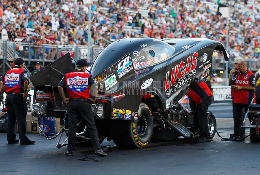 Jun 16, 2017; Bristol, TN, USA; Crew members for NHRA funny car driver Del Worsham during qualifying for the Thunder Valley Nationals at Bristol Dragway. Mandatory Credit: Mark J. Rebilas-USA TODAY Sports