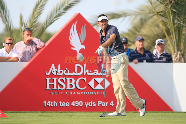 Charl Shwartzel tees off on the 14th tee during Thusday Day 1 of the Abu Dhabi HSBC Golf Championship, 20th January 2011..(Picture Eoin Clarke/www.golffile.ie)