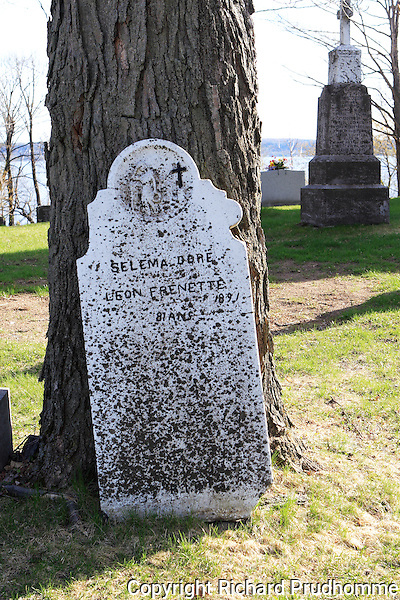 Old tombstone for Selema  Dore who passed away in 1891 , in the Cap-Sante cemetery, Quebec