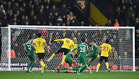 1st January 2020; Vicarage Road, Watford, Hertfordshire, England; English Premier League Football, Watford versus Wolverhampton Wanderers; Abdoulaye Doucoure of Watford shoots and scores in 48th minute 2-0 - Strictly Editorial Use Only. No use with unauthorized audio, video, data, fixture lists, club/league logos or 'live' services. Online in-match use limited to 120 images, no video emulation. No use in betting, games or single club/league/player publications