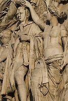 Arc de Triomphe, Paris.  Detail of Napoleon's Coronation by Spirit of Victory (Woman) in Cortot's The Triumph of Napoleon sculpture on the Champs Elysee side of the Arc.  Details include Full figure of Napoleon and semi-nude sculpture of Spirit of Victory.  July 2008