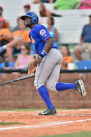 Kingsport Mets catcher Darryl Knight (22) hits a home run during a game against the  Johnson City Cardinals on June 25, 2015 in Johnson City, Tennessee. The Mets defeated the Cardinals 10-8 (Tony Farlow/Four Seam Images)