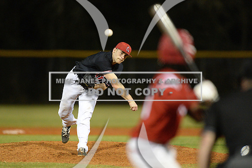 Ball State Cardinals pitcher Jacob Brewer (20) during a game against the Mississippi Valley State Delta Devils on February 21, 2014 at North Charlotte Regional Park in Port Charlotte, Florida.  Ball State defeated Mississippi Valley 12-1.  (Copyright Mike Janes Photography)