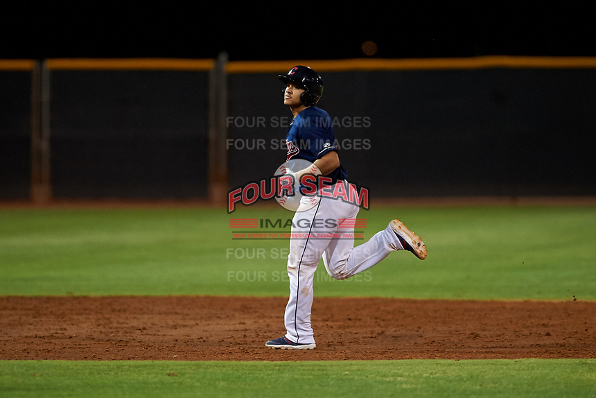 AZL Indians Red Yainer Diaz (4) rounds the bases after hitting a walk-off home run to end an Arizona League game against the AZL Padres 1 on June 23, 2019 at the Cleveland Indians Training Complex in Goodyear, Arizona. AZL Indians Red defeated the AZL Padres 1 3-2. (Zachary Lucy/Four Seam Images)