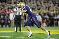 Annapolis, MD - October 26, 2019: Navy Midshipmen kicker Bijan Nichols (43) kicks the game winning field goal during the game between Tulane and Navy at  Navy-Marine Corps Memorial Stadium in Annapolis, MD.   (Photo by Elliott Brown/Media Images International)