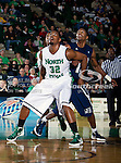 North Texas Mean Green forward Roger Franklin (32) in action during the game between the Jackson State Tigers and the University of North Texas Mean Green at the North Texas Coliseum,the Super Pit, in Denton, Texas. UNT defeated Jackson State 69 to 55.