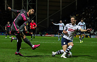 Preston North End's Ben Davies blocks the cross from Leeds United's Tyler Roberts<br /> <br /> Photographer Alex Dodd/CameraSport<br /> <br /> The EFL Sky Bet Championship - Preston North End v Leeds United - Tuesday 22nd October 2019 - Deepdale Stadium - Preston<br /> <br /> World Copyright © 2019 CameraSport. All rights reserved. 43 Linden Ave. Countesthorpe. Leicester. England. LE8 5PG - Tel: +44 (0) 116 277 4147 - admin@camerasport.com - www.camerasport.com