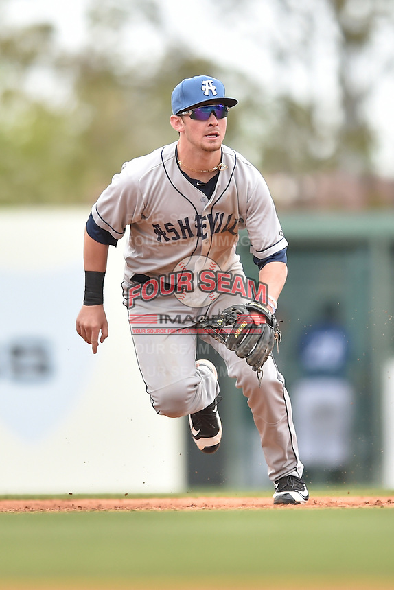 Asheville Tourists second baseman Brendan Rodgers (1) moves in to start a double play during a game against the  Greenville Drive at Fluor Field on April 10, 2016 in Greenville South Carolina. The Drive defeated the Tourists 7-4. (Tony Farlow/Four Seam Images)