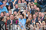 Dublin Captain Bryan Cullen celebrates winning the All Ireland Senior Football Final 2011 over Kerry in Croke Park by raising the Sam Maguire Cup on Sunday 18th September 2011.