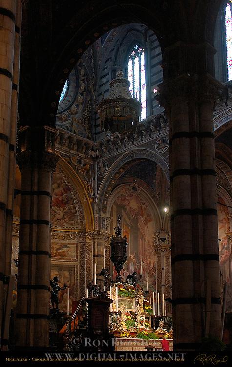 High Altar, Ciborium and Apse Frescoes, Cathedral of Siena, Santa Maria Assunta, Siena, Italy