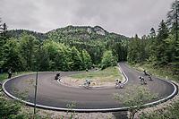 breakaway group descending the Passo della Mauria<br /> <br /> stage 15: Tolmezzo – Sappada (176 km)<br /> 101th Giro d'Italia 2018