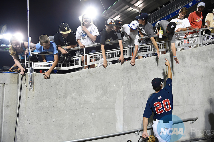 23 JUNE 2014:  The University of Virginia takes on Vanderbilt University during the Division I Men's Baseball Championship held at TD Ameritrade Park in Omaha, NE.  Jamie Schwaberow/NCAA Photos