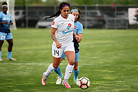 Piscataway, NJ - Sunday April 30, 2017: Sydney Leroux and Erin Simon during a regular season National Women's Soccer League (NWSL) match between Sky Blue FC and FC Kansas City at Yurcak Field.