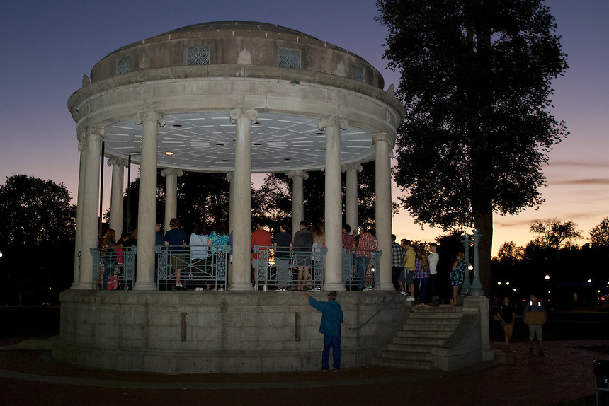 Students, friends, and locals gathered at the band stand on the Boston Common for Emerson's 9/11 Vigil at sunset.