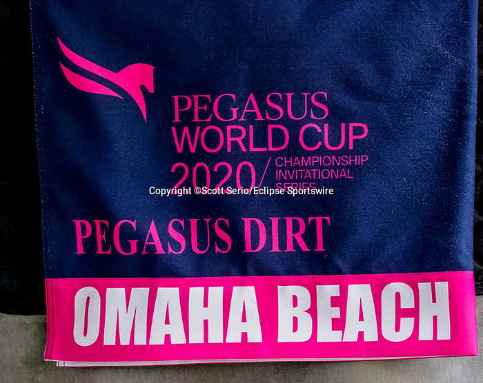 January 23, 2020: The workout saddle cloth for Omaha Beach at the Pegasus World Cup Invitational at Gulfstream Park Race Track in Hallandale Beach, Florida. Scott Serio/Eclipse Sportswire/CSM