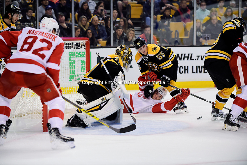 Wednesday, September 28, 2016: Boston Bruins center Noel Acciari (55) pins Detroit Red Wings forward Dylan Sadowy (44) in front of goalie Malcolm Subban (70) and the net during the NHL game between the Detroit Red Wings and the Boston Bruins held at TD Garden, in Boston, Massachusetts. Detroit beats Boston 5-1 in regulation time. Eric Canha/CSM