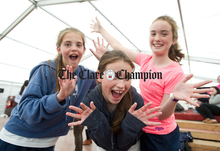 Robyn Mc Kenna, Mai Whelan and Rosa Whelan of Kildare taking part in a dance class as part of the Willie Clancy Summer school in Miltown Malbay. Photograph by John Kelly.