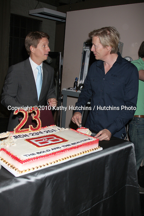 Bradley Bell & Jack Wagner.at the 23rd Anniversary of Bold and the Beautiful being on air,.Bold & Beautiful Set at CBS Television CIty.Los Angeles, CA.March 23, 2010.©2010 Kathy Hutchins / Hutchins Photo....