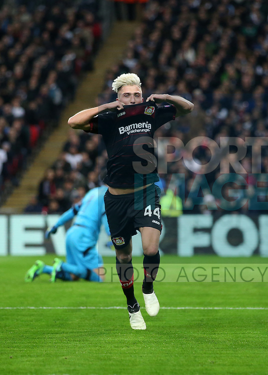 Leverksen's Kevin Kampl celebrates scoring his sides opening goal during the Champions League group E match at the Wembley Stadium, London. Picture date November 2nd, 2016 Pic David Klein/Sportimage