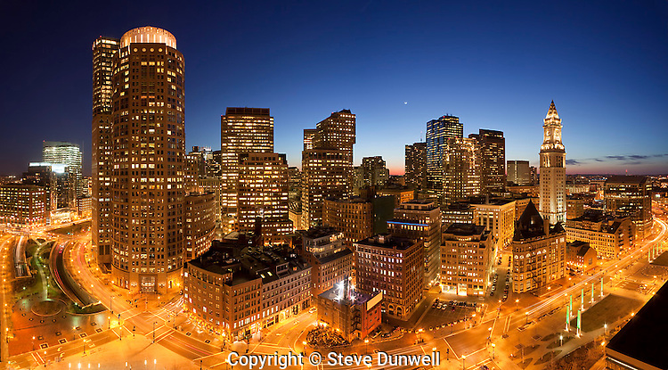 Downtown night skyline from Harbor Towers, Boston, MA