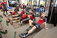 Eddie Lattimore (L) and players exercise in the gym during the Swansea City Training and Press Conference at The Fairwood Training Ground, Swansea, Wales, UK. Thursday 01 February 2018