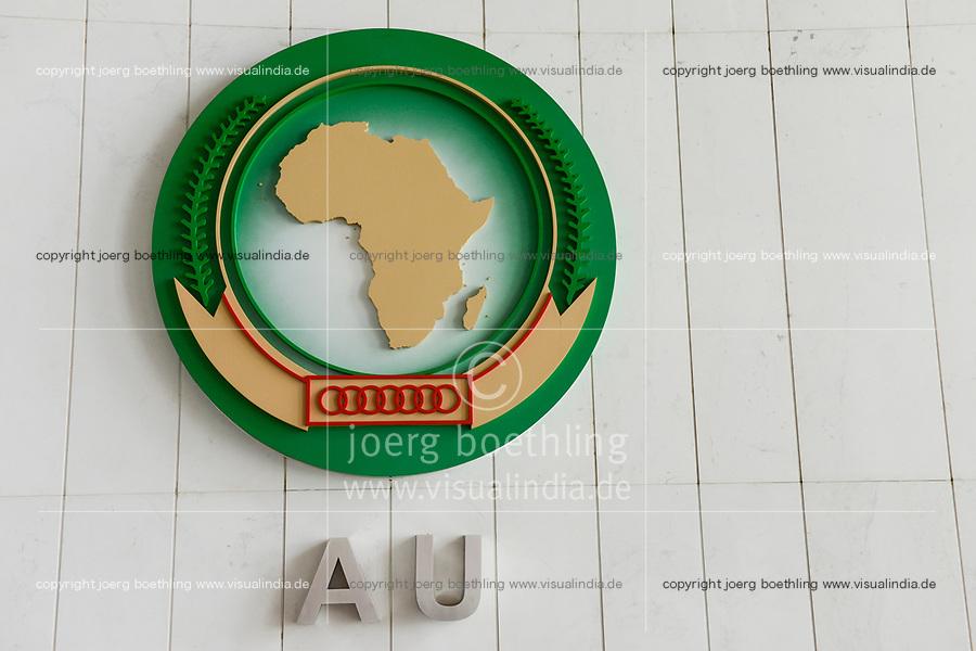 ETHIOPIA Addis Ababa, AU African Union new building, constructed and gifted by China, emblem of AU in foyer of plenary hall / AETHIOPIEN, Addis Abeba, neues Gebaeude der AU Afrikanischen Union, gebaut und geschenkt von China