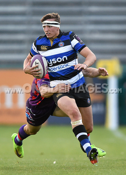 Darren Atkins of Bath United goes on the attack. Remembrance Rugby match, between Bath United and the UK Armed Forces on May 10, 2017 at the Recreation Ground in Bath, England. Photo by: Patrick Khachfe / Onside Images