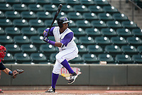 Eloy Jimenez (27) of the Winston-Salem Dash at bat against the Potomac Nationals at BB&T Ballpark on August 6, 2017 in Winston-Salem, North Carolina.  The Nationals defeated the Dash 4-3 in 10 innings.  (Brian Westerholt/Four Seam Images)