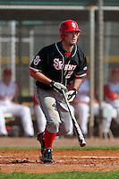 Jimmy Brennan #24 of the St. John's Red Storm during a game vs the Ohio State Buckeyes at the Big East-Big Ten Challenge at Walter Fuller Complex in St. Petersburg, Florida;  February 20, 2011.  Ohio State defeated St. John's 8-7 in 11 innings.  Photo By Mike Janes/Four Seam Images