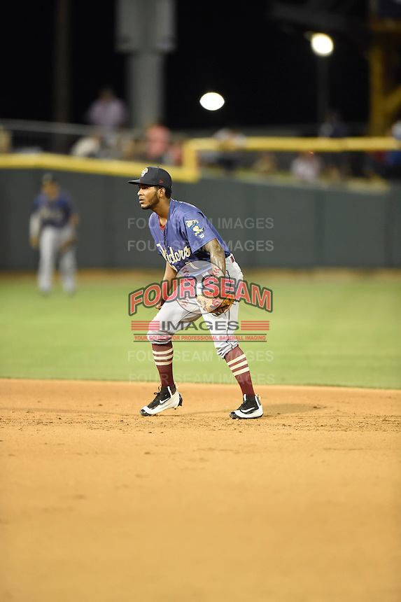 ***Temporary Unedited Reference File***Frisco RoughRiders second baseman Alberto Triunfel (7) during a game against the Corpus Christi Hooks on April 23, 2016 at Whataburger Field in Corpus Christi, Texas.  Corpus Christi defeated Frisco 3-2.  (Mike Janes/Four Seam Images)